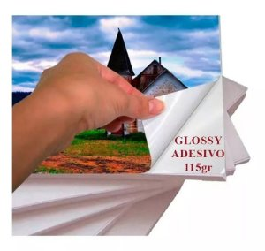 Papel Adesivo Fotográfico Hi Glossy Prova D´água 115g