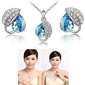 Colar + Brincos-Azul Graciosos de Cristal Rhinestone Folha de Safira
