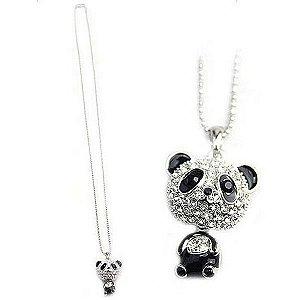 Colar Fofinho de Panda em Liga Metálica e Cristais de Rhimestone