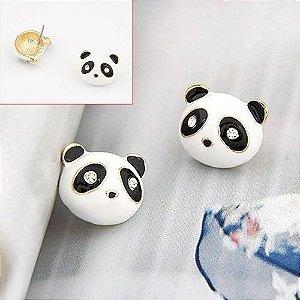 Brincos Fofinhos de Cabeça de Panda Cristais Brilhantes nos Olhos