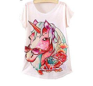 Camisa com Estampa de Unicórnio Fashion - Tamanho Único