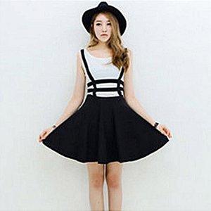 Mini Vestido com suspensórios Tamanho único, Moda verão