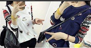 Blusa de Moletom Estampada com Mangas coloridas - 2 cores