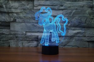 Exclusivo - Abajur 3D LED illusion Poney - 7 Cores e mixer com Controle Remoto