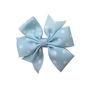Laço de Cabelo Azul Claro com Poá Branco - M