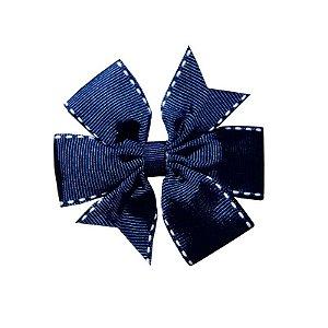 Laço de Cabelo Azul Marinho Pespontado - M