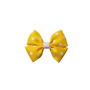 Laço Infantil Pequeno Amarelo com Poá Branco - P