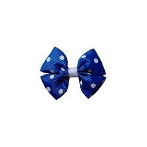 Laço Infantil Pequeno Azul Escuro com Poá Branco - P