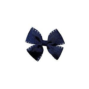 Laço Infantil Pequeno Azul Marinho Pespontado - P