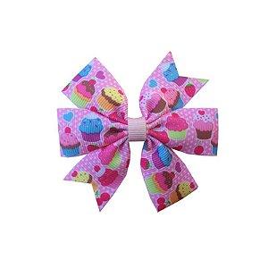Laço de Cabelo Cupcake Rosa Claro - M