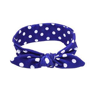 Headband Infantil - Azul Escuro com Poá Branco