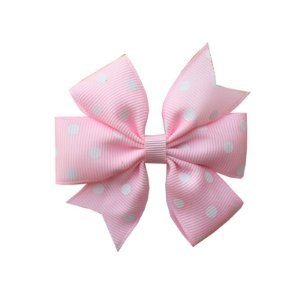 Laço de Cabelo Rosa Claro com Poá Branco - M