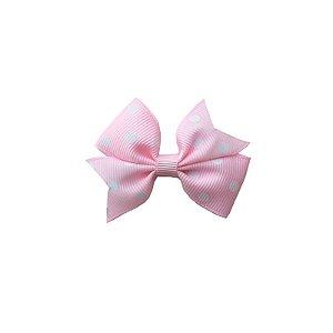 Laço para Cabelo Infantil Rosa Claro com Poá Branco - P