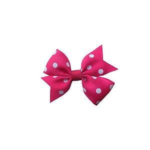 Laço para Cabelo Infantil Rosa Escuro com Poá Branco - P