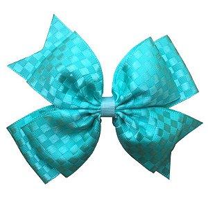 Laço Grande Azul Tiffany Quadriculado - G