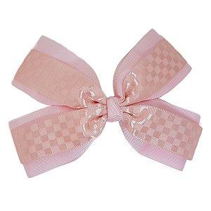 Laço de Cabelo de Estampa Rosa Claro Quadriculado - GG