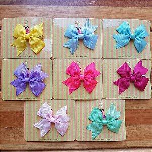 Kit com 8 Laços Infantil - Gorgurão - Bico de Pato - Candy Colors