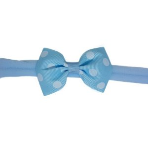 Faixinha para Bebê - Estampa Azul Claro com Poá Branco