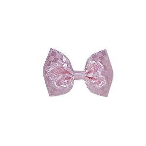 Lacinho de Bebê Rosa Claro Quadriculado - P
