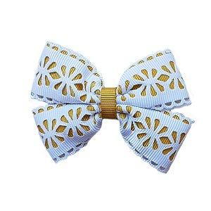 Laço Infantil Dourado com Branco Vazado - M