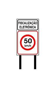 Placa de sinalização HO Fiscalização eletr. - 50 km/h