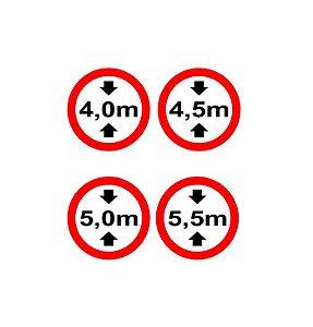 Placa rodoviária altura máxima de viaduto HO c/ 4 unidades (cód. 117)