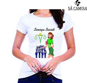 Camisa Feminina Baby Look - Gola Redonda -Serviço Social