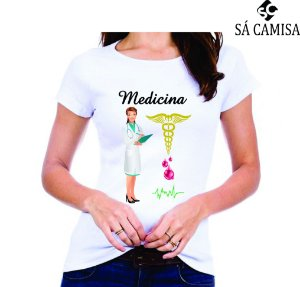 Camisa Feminina Baby Look - Gola Redonda -Medicina
