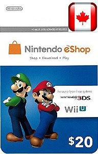 Cartão Nintendo 3ds Wii U Eshop Card $20 Dolares Canada