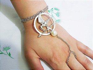Pulseira/anel Tordo Com Pérola - Jogos Vorazes