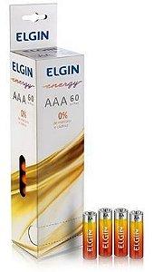 Pilha Elgin AAA zinco-Carv R03 Tubo c/60