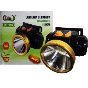 Lanterna de Cabeça  Recarregável 1 LED 3W