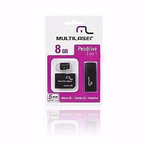 Pen Drive 8gb Multilaser Mc058 3 Em 1 Micro Sd E Cartão Sd
