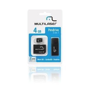 Pen Drive 4gb Multilaser Mc057 3 Em 1 Micro Sd E Cartão Sd