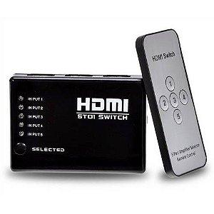 Switch HDMI 5 Entrada 1 Saida c/Controle