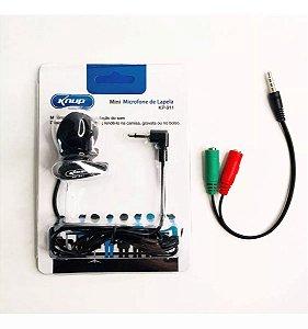 Mini Microfone de Lapela Knup kp-911 com cabo p2