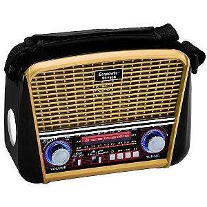 Rádio Retrô Solar Recarregável AM/FM/USB/SD/Bluetooth C/Lanterna