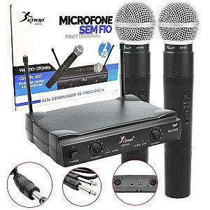Microfone Sem Fio 30M Duplo Wireless Vhf Kp-912 KP-912 KNUP