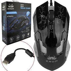 Mouse Gamer Pro Led Alta Precisão Pc Notebook 3200 Dpi Preto Knup