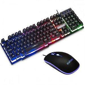 Kit Combo Gamer Exbom BK-G550 Teclado Mouse Luz Led ABNT2 USB 2.0