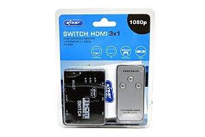 Switch HDMI 3 Portas Com Controle Remoto KP-3464
