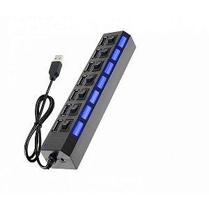 Hub USB 7 Portas 2.0 LED Indicador Preto Com Chave L/D