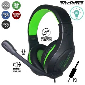Headset Gamer Tecdrive LED P3 USB PS3/PS4/XBOX ONE NSWITCH PX-10