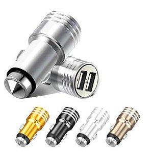 Carregador Veicular Metal S/Cabo Turbo 2.4A 2 Saídas USB
