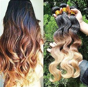 Cabelo 100% Humano - Ombre Hair 3 tons degradê - 300 gramas