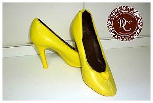 Sapato de chocolate peep toe - 01 lado