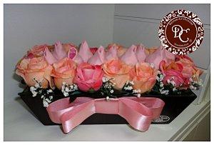 Floreira com tulipas de Chocolate
