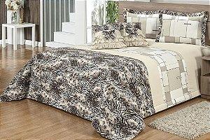 Kit Cobre leito Safari King size colcha estampada percal 140 fios 09 peças