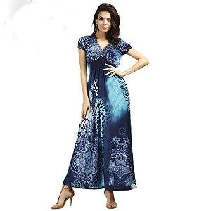 887d201921 Vestido Longo Estampado Solto Moderno - Linda   Modesta
