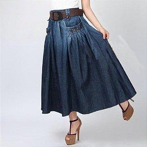 Saia Jeans Midi com Cinto